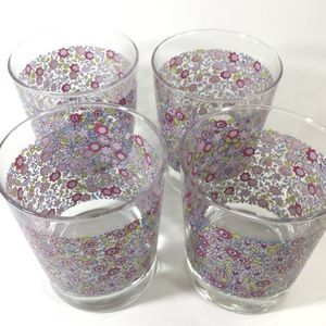 Set of 4 Ikea pink floral glasses